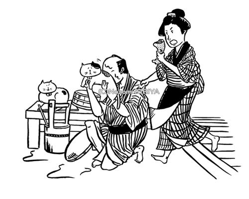 【猫中毒】様 落語猫Tシャツ「堀の内」(2013)